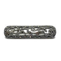Art Deco Brooch Vintage Sterling Silver Bar Brooch with Marcasite
