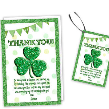 Shamrock Party Thank You Card - Shamrock Birthday Favor Tags - Party Favor Tag - Little Shamrock - St Paddys Day St Patricks Day - Party