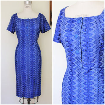 Vintage 1940s Plus Size Wiggle Dress / 40s Royal Blue Dress / Late 1940s Dress / Large Size Vintage