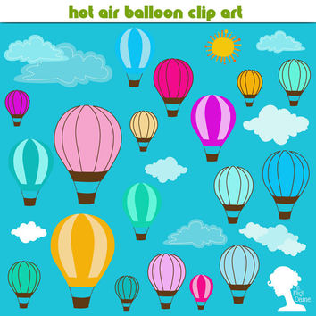 Clip Art: Hot Air Balloon with Clouds and Sun