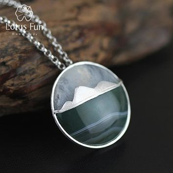 Lotus Fun Real 925 Sterling Silver Natural Handmade Fine Jewelry Creative Mountain Design Pendant without Necklace for Women