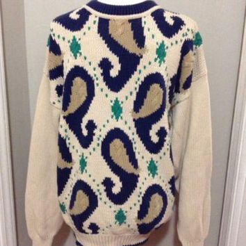 Vintage 80's Gant Salty Dog Paisley Pattern Crew neck heavy knit Sweater Mens L