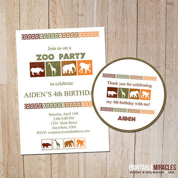 Zoo birthday party invitation Thank you label Kids Safari adventure themed Personalized party printables green brown orange African animals