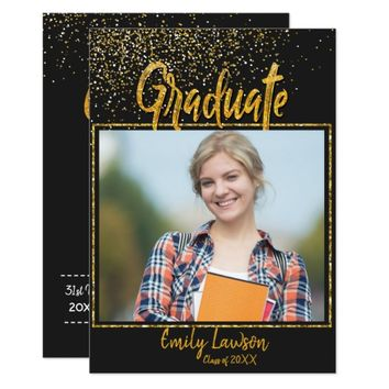 Black gold glitter photo grad invitation card