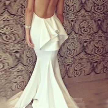 White Backless Strappy Maxi Dress