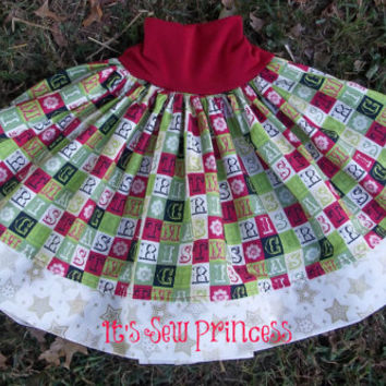 Everyday Play Skirt in Christmas Block Fabric with Gold Star Trim/Baby Clothing/Girls Clothing/Boutique Clothing/Yoga waistband skirt/