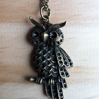 Ornate Owl with Obsidian Long Necklace