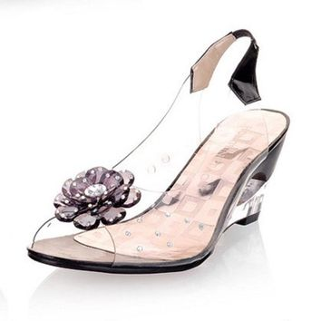 transparent wedges women sandals 2017 new fashion sweet crystal summer jelly shoes ret  number 1