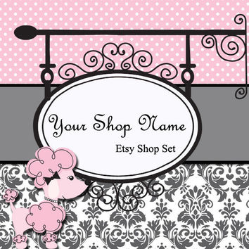Etsy Banner and Avatar Set for Your Store--Poodle (P01)