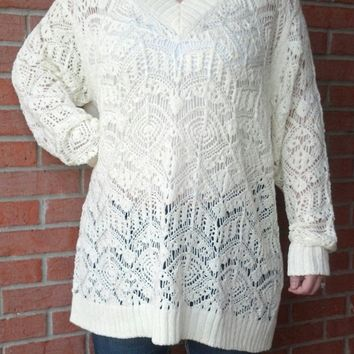 Crochet Tunic V Neck Sweater