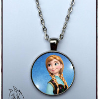 characters frozen Kristoff Anna inspired necklace