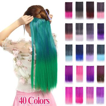"""24"""" Fashion Women Clip In On Hair Extensions Synthetic Ombre Straight Hairpieces"""