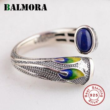 BALMORA Vintage Style 100% Real 925 Sterling Silver Jewelry Lapis Lazuli Rings for Women Mother's Gifts Free Shipping TRS21697