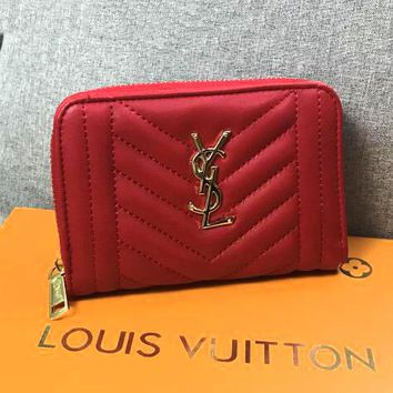 YSL Newest Fashionable Women Chic Leather Purse Wallet Red