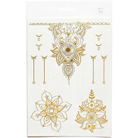 River Island Womens Gold flower bracelet temporary tattoos