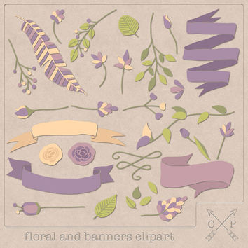 Hand drawn banners flowers floral laurel digital Clipart set 3 leafs feather ribbon clipart for logo design scrapbook wedding invites purple