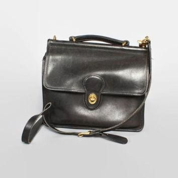 ONETOW Vintage 90s COACH PURSE / 1990s Black Leather Station Willis Mail Crossbody Bag