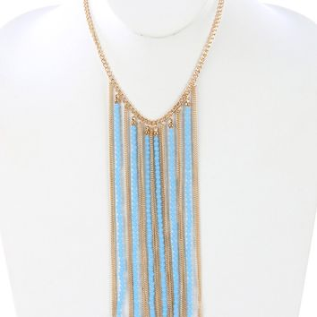 Blue Iridescent Glass Bead Long Chain Fringe Bib Necklace