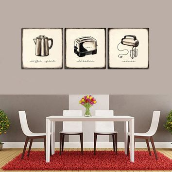 Retro 3PCS Canvas Oil Painting House Electrical Appliances Vintage Print Poster Wall Picture Cafe Living Room Home Decoration