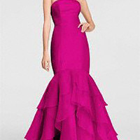 Strapless Dress with Cuff Neckline and Corset Back