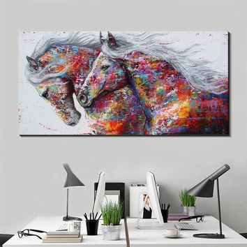 Modern decoration Canvas Wall Art Colorful Oil Painting Running Horse canvas wall art decor for living room office