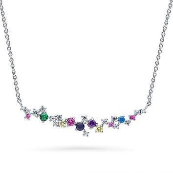 Blooming Color Round Cut Cluster Necklace