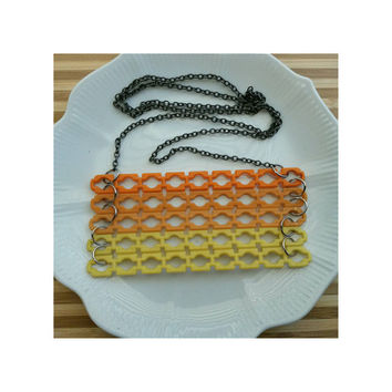 Vintage Upcycled Elsie Stix Necklace- sunset orange and yellow Borden popsicle sticks