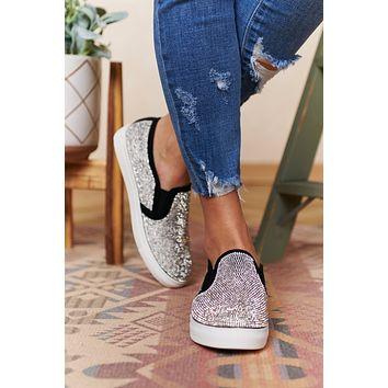 Nothing Like You Rhinestone Sneakers (Black/Silver)