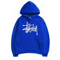 Stussy Menswear winter Sweater Hoodie and coat Blue+White letters