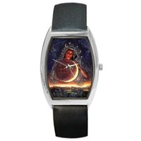 New Age Witch Pagan World Universe Scene Black Leather Barrel Watch