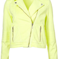 MOTO Neon Denim Biker Jacket - Spotted  - Collections  - Topshop USA