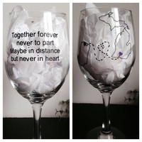 Long distance friendship winglass best friends wine glass