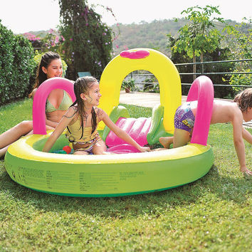 "57"" Bright Green, Yellow, and Pink Inflatable Children's Pool with Slide"