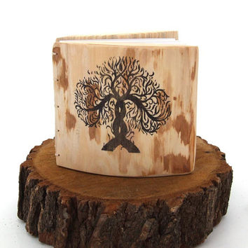 Rustic WEDDING GUEST BOOK or wedding journal- personalized with your names and date - Tree of Life