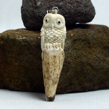 "Hand Carved Owl 3.3"" Natural Deer Antler PendantSterling Silver 925 AP1534"