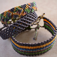 Macrame Friendship Bracelets/ Stacked Bracelets/ Cuffs/ Macrame Jewelry/ Anklet/ Brown Yellow Green/ Men's Jewelry