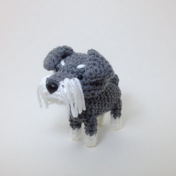 Schnauzer Stuffed Toy Amigurumi Dog Crochet Puppy Plush Doggie Doll / Made to Order