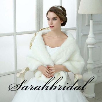 Sarahbridal 2016 Gorgeous Wedding Jacket Wraps Faux Fur White Wraps Bridal Coat For Wedding Party Dress Winter 17013