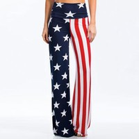 Fashion High-Waist Print Stripes Five Stars Trousers