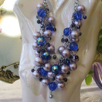 Wedding Jewelry Formal Special Occasion Statement Necklace Purple Blue Delight Swarovski Crystals  - Viola