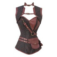CD-999 - Brown Brocade Pattern Steampunk Corset with Faux Leather Brown Removable Pouch