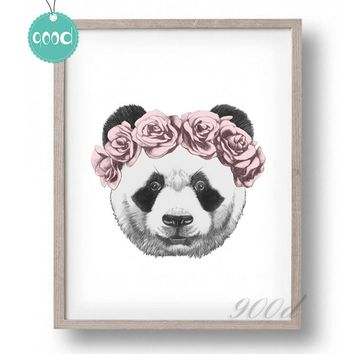 Panda Drawing with Rose Canvas Art Print Painting Poster,  Wall Picture for Home Decoration,  Wall Decor SHU001