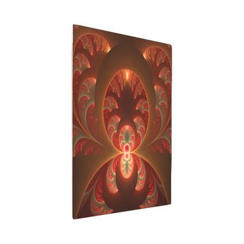 Luminous abstract modern orange red Fractal Metal Photo Print