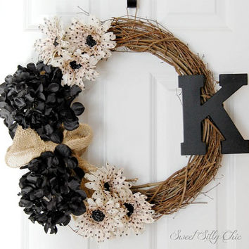 Parisian Chic Personalized Wreath, Front Door Wreath, Silk Flower Wooden Letter Wreath, Spring Summer Wreath