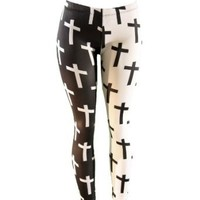 Half Black Half White Cross Print Stretch Leggings (Large)