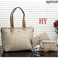 COACH new women's fashionable high quality three-piece Messenger bag F-a-BBPFCJ Apricot