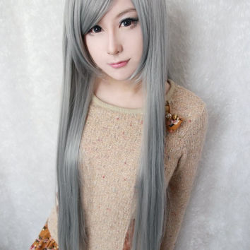 80cm long cosplay anime Changan unreal night cosplay synthetic lace front wig,Colorful Candy Colored synthetic Hair Extension Hair piece 1pcs WIG-017A