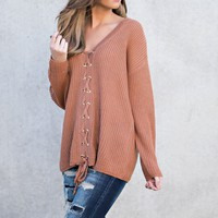 Newcastle Lace Up Sweater (Desert Sand)