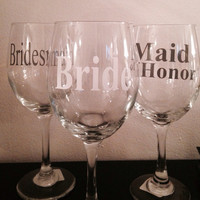 Bride and bridesmaids wine glasses. Reception wine glasses