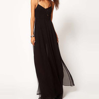Black Spaghetti Strap Chiffon Maxi Dress